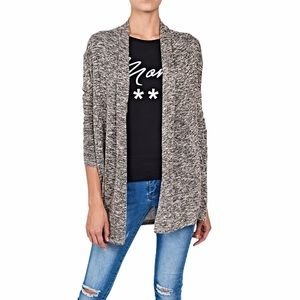 American Eagle Gray Marbled Open Front Cardigan M